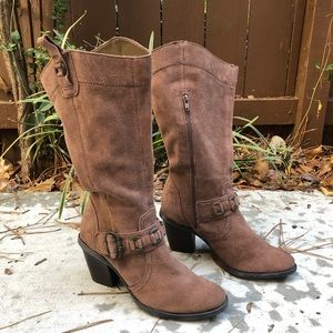 BareTraps Brown Suede Leather Mid Boots With Heels